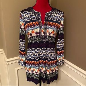 Tory Burch Navy Tribal Ikat Silk Tunic